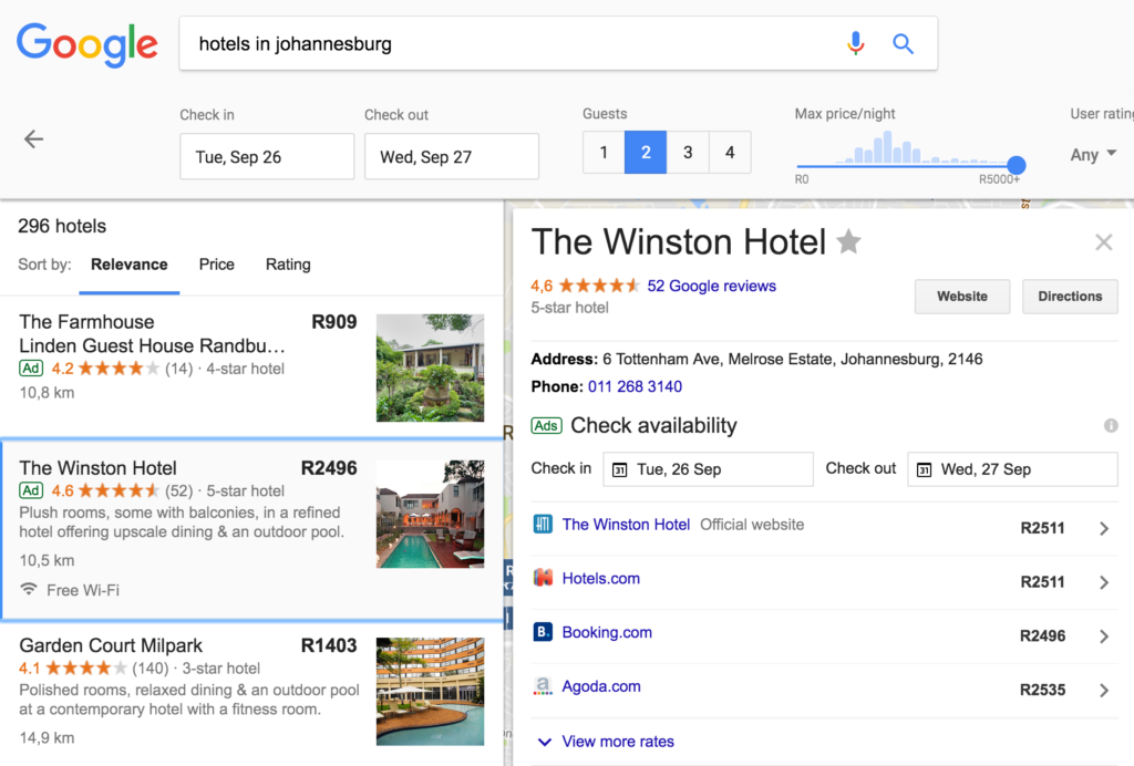 Hotel specific Google Hotel Ad Auction